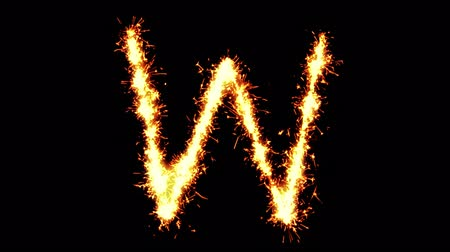 letter w : Alphabet W Text Sparkler Writing With Glitter Sparks Particles Firework on Black 4K Loop Background. letter , alphabet , typography , Typeface , Font , character .