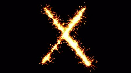 strojopis : Alphabet X Text Sparkler Writing With Glitter Sparks Particles Firework on Black 4K Loop Background. letter , alphabet , typography , Typeface , Font , character . Dostupné videozáznamy