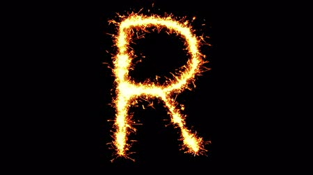 sto : Alphabet R Text Sparkler Writing With Glitter Sparks Particles Firework on Black 4K Loop Background. letter , alphabet , typography , Typeface , Font , character .