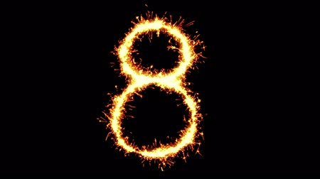 asal : Number 8 Text Sparkler Writing With Glitter Sparks Particles Firework on Black 4K Loop Background. letter , alphabet , typography , Typeface , Font , character .
