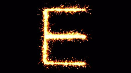 strojopis : Alphabet E Text Sparkler Writing With Glitter Sparks Particles Firework on Black 4K Loop Background. letter , alphabet , typography , Typeface , Font , character . Dostupné videozáznamy