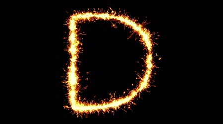 caracteres : Alphabet D Text Sparkler Writing With Glitter Sparks Particles Firework on Black 4K Loop Background. letter , alphabet , typography , Typeface , Font , character .