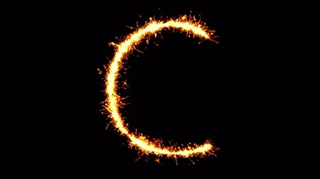 betűrendes : Alphabet C Text Sparkler Writing With Glitter Sparks Particles Firework on Black 4K Loop Background. letter , alphabet , typography , Typeface , Font , character . Stock mozgókép