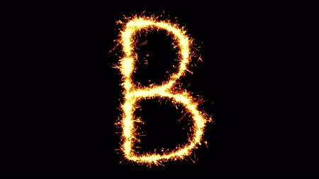 kaligrafia : Alphabet B Text Sparkler Writing With Glitter Sparks Particles Firework on Black 4K Loop Background. letter , alphabet , typography , Typeface , Font , character .