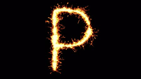 strojopis : Alphabet P Text Sparkler Writing With Glitter Sparks Particles Firework on Black 4K Loop Background. letter , alphabet , typography , Typeface , Font , character .