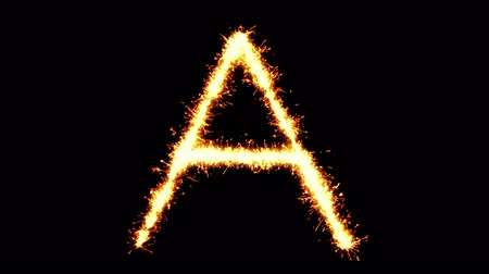 strojopis : Alphabet A Text Sparkler Writing With Glitter Sparks Particles Firework on Black 4K Loop Background. letter , alphabet , typography , Typeface , Font , character .