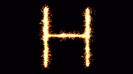 betűrendes : Alphabet H Text Sparkler Writing With Glitter Sparks Particles Firework on Black 4K Loop Background. letter , alphabet , typography , Typeface , Font , character .