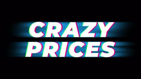 inkoop : Crazy Prices Text Glitch Effect Promotion Advertisement Loop Background. Price Tag, Sale, Discounts, Deals, Special Offers, Green Screen and Alpha Matte Stockvideo
