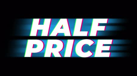 barganha : Half Price Text Glitch Effect Promotion Advertisement Loop Background. Price Tag, Sale, Discounts, Deals, Special Offers, Green Screen and Alpha Matte