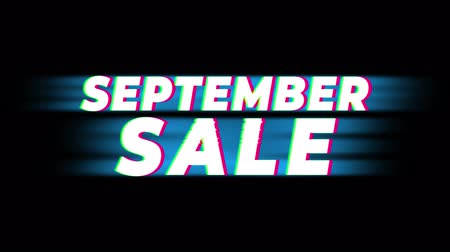 рекламный : September Sale Text Vintage Glitch Effect Promotion Advertisement Loop Background. Tag, Sale, Discounts, Deals, Special Offers, Green Screen and Alpha Matte Стоковые видеозаписи
