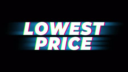 гарантия : Lowest Price Text Glitch Effect Promotion Advertisement Loop Background. Price Tag, Sale, Discounts, Deals, Special Offers, Green Screen and Alpha Matte Стоковые видеозаписи