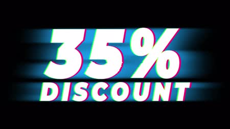 неделя : 35% Percent Discount Text Glitch Effect Promotion Advertisement Loop Background. Price Tag, Sale, Discounts, Deals, Special Offers, Green Screen and Alpha Matte