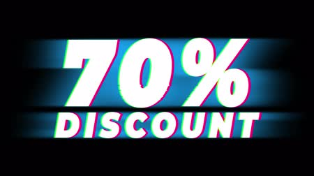 hoje : 70% Percent Discount Text Glitch Effect Promotion Advertisement Loop Background. Price Tag, Sale, Discounts, Deals, Special Offers, Green Screen and Alpha Matte