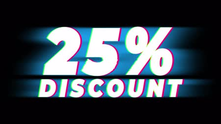 hoje : 25% Percent Discount Text Glitch Effect Promotion Advertisement Loop Background. Price Tag, Sale, Discounts, Deals, Special Offers, Green Screen and Alpha Matte