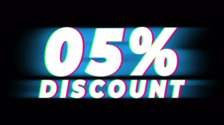 クリアランス : 05% Percent Discount Text Glitch Effect Promotion Advertisement Loop Background. Price Tag, Sale, Discounts, Deals, Special Offers, Green Screen and Alpha Matte