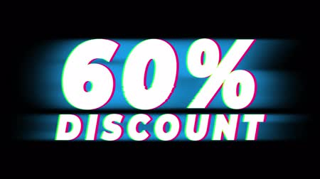 hoje : 60% Percent Discount Text Glitch Effect Promotion Advertisement Loop Background. Price Tag, Sale, Discounts, Deals, Special Offers, Green Screen and Alpha Matte