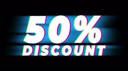 fifty : 50% Percent Discount Text Glitch Effect Promotion Advertisement Loop Background. Price Tag, Sale, Discounts, Deals, Special Offers, Green Screen and Alpha Matte