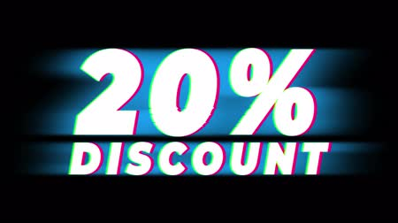неделя : 20% Percent Discount Text Glitch Effect Promotion Advertisement Loop Background. Price Tag, Sale, Discounts, Deals, Special Offers, Green Screen and Alpha Matte Стоковые видеозаписи