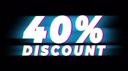 čtyřicátá léta : 40% Percent Discount Text Glitch Effect Promotion Advertisement Loop Background. Price Tag, Sale, Discounts, Deals, Special Offers, Green Screen and Alpha Matte