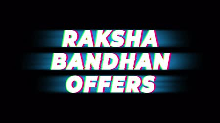 bond : Raksha Bandhan Offers Text Glitch Effect Promotion Advertisement Loop Background. Price Tag, Sale, Discounts, Deals, Special Offers, Green Screen and Alpha Matte