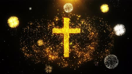 baptism : Church Cross Christianity Religion Icon on Firework Display Explosion Particles. Object, Shape, Text, Design, Element, Symbol 4K Animation.