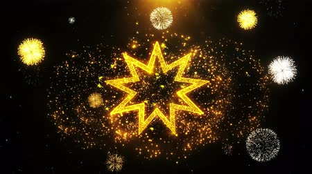 persie : Bahai Nine pointed star Bahaism Icon on Firework Display Explosion Particles. Object, Shape, Text, Design, Element, Symbol 4K Animation.