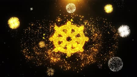 samsara : Wheel of Dharma Buddhism religion Icon on Firework Display Explosion Particles. Object, Shape, Text, Design, Element, Symbol 4K Animation. Stock Footage