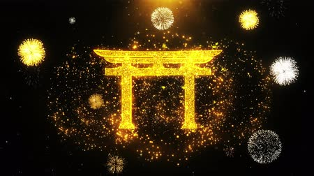 pictograma : Shinto symbol Torii religion Icon on Firework Display Explosion Particles. Object, Shape, Text, Design, Element, Symbol 4K Animation.