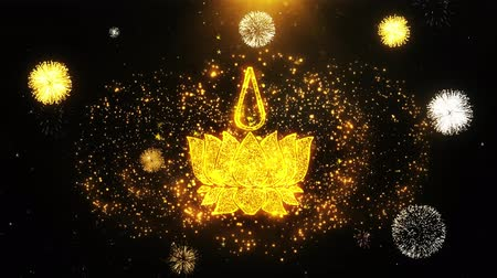neopaganism : Religious symbol Ayyavazhi symbolism Icon on Firework Display Explosion Particles. Object, Shape, Text, Design, Element, Symbol 4K Animation.