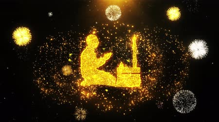 creed : Islamic, pray, prayer, ramadan, religion Icon on Firework Display Explosion Particles. Object, Shape, Text, Design Element Symbol 4K Animation Stock Footage