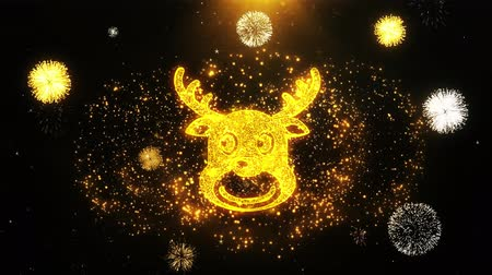 snow angel : Christmas Reindeer Xmas Deer Icon on Firework Display Explosion Particles. Object, Shape, Text, Design, Element, Symbol 4K Animation. Stock Footage
