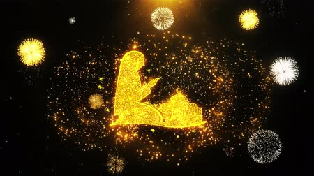 vetor : Dua,namaz,praying,islam,islamic Icon on Firework Display Explosion Particles. Object, Shape, Text, Design Element Symbol 4K Animation