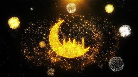 hilâl : Islamic mosque Moon ramadan Icon on Firework Display Explosion Particles. Object, Shape, Text, Design, Element, Symbol 4K Animation. Stok Video