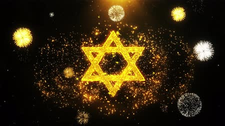 západ : David The Jewish star Religion Icon on Firework Display Explosion Particles. Object, Shape, Text, Design, Element, Symbol 4K Animation.