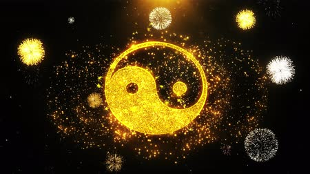 yin and yang : Yin Yang Taoism buddhism daoism religion Icon on Firework Display Explosion Particles. Object, Shape, Text, Design, Element, Symbol 4K Animation.