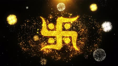 sanskrit : Hindu, holy, indian, religion, swastika, swastika Icon on Firework Display Explosion Particles. Object, Shape, Text Design Element Symbol 4K Animation Stock Footage