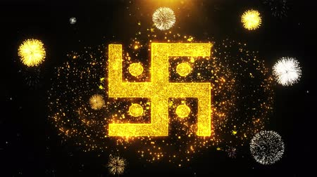 sanskrit : Hindu, holy, indian, religion, swastika Icon on Firework Display Explosion Particles. Object, Shape, Text Design Element Symbol 4K Animation Stock Footage