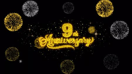 th : 9th Happy Anniversary Golden Greeting Text Appearance Blinking Particles with Golden Fireworks Display 4K for Greeting card, Celebration, Invitation, calendar, Gift, Events, Message, Holiday, Wishes . Stock Footage
