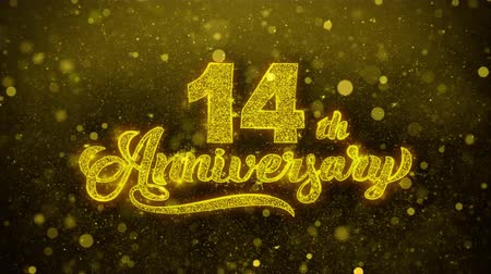 bóia : 14th Happy Anniversary Golden Greeting Text Appearance Blinking Particles with Golden Fireworks Display 4K for Greeting card, Celebration, Invitation, Gift, Events, Message, Holiday, Wishes .