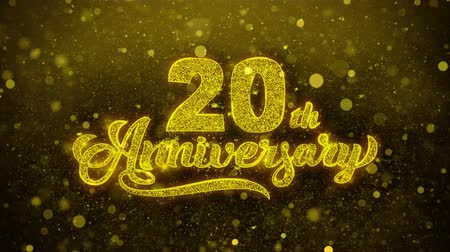 bóia : 20th Happy Anniversary Golden Greeting Text Appearance Blinking Particles with Golden Fireworks Display 4K for Greeting card, Celebration, Invitation, Gift, Events, Message, Holiday, Wishes .