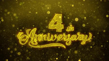 bóia : 4th Happy Anniversary Golden Greeting Text Appearance Blinking Particles with Golden Fireworks Display 4K for Greeting card, Celebration, Invitation, calendar, Gift, Events, Message, Holiday, Wishes .