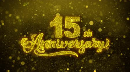 th : 15th Happy Anniversary Golden Greeting Text Blinking Particles with Golden Fireworks Display 4K for Greeting card, Celebration, Invitation, calendar, Gift, Events, Message, Holiday, Wishes .