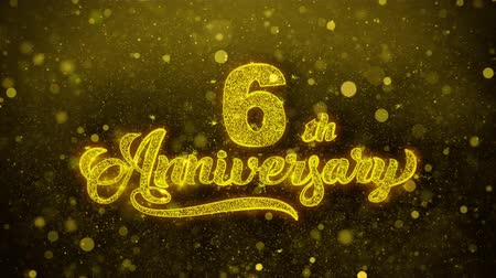 bóia : 6th Happy Anniversary Golden Greeting Text Appearance Blinking Particles with Golden Fireworks Display 4K for Greeting card, Celebration, Invitation, calendar, Gift, Events, Message, Holiday, Wishes .