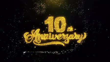 慶典 : 10th Happy Anniversary Written Gold Glitter Particles Spark Exploding Fireworks Display 4K . Greeting card, Celebration, Party Invitation, calendar, Gift, Events, Message, Holiday, Wishes Festival