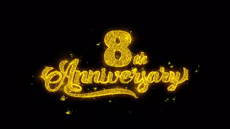 emoties : 8th Happy Anniversary Typography Written with Golden Particles Sparks Fireworks Display 4K. Greeting card, Celebration, Party Invitation, calendar, Gift, Events, Message, Holiday, Wishes Festival Stockvideo