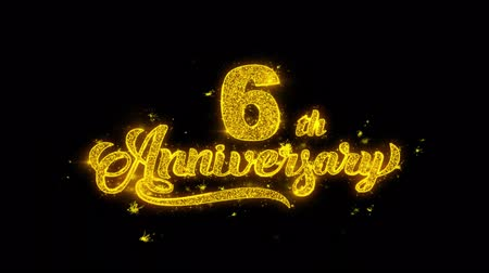 th : 6th Happy Anniversary Typography Written with Golden Particles Sparks Fireworks Display 4K. Greeting card, Celebration, Party Invitation, calendar, Gift, Events, Message, Holiday, Wishes Festival Stock Footage