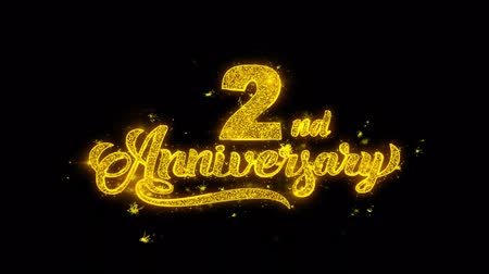 th : 2nd Happy Anniversary Typography Written with Golden Particles Sparks Fireworks Display 4K. Greeting card, Celebration, Party Invitation, calendar, Gift, Events, Message, Holiday, Wishes Festival Stock Footage