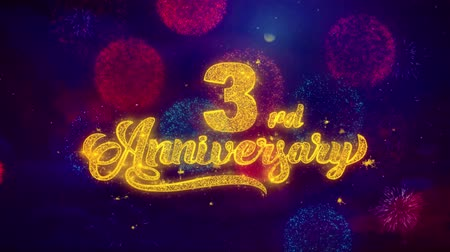 th : 3rd Happy Anniversary Greeting Text with Particles and Sparks Colored Bokeh Fireworks Display 4K. for Greeting card, Celebration, Party Invitation, calendar, Gift, Events, Message, Holiday, Wishes.