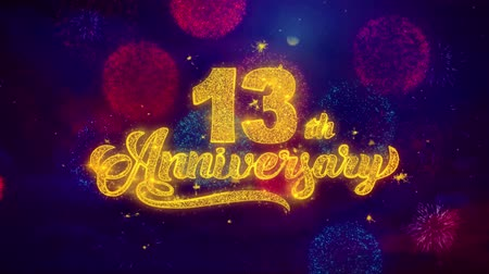 慶典 : 13th Happy Anniversary Greeting Text with Particles and Sparks Colored Bokeh Fireworks Display 4K. for Greeting card, Celebration, Party Invitation, calendar, Gift, Events, Message, Holiday, Wishes.