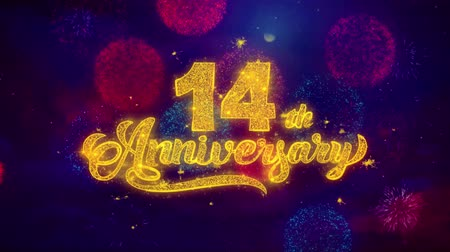 pozdrav : 14th Happy Anniversary Greeting Text with Particles and Sparks Colored Bokeh Fireworks Display 4K. for Greeting card, Celebration, Party Invitation, calendar, Gift, Events, Message, Holiday, Wishes.